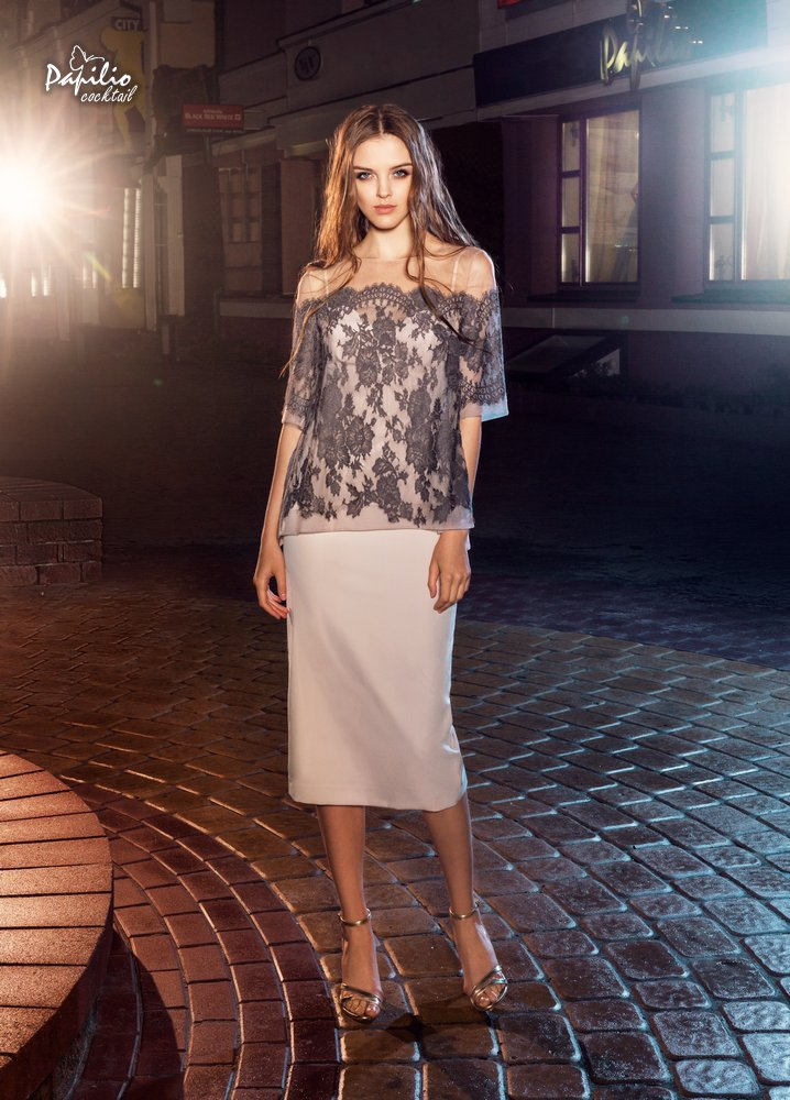 Коктейльное короткое вечернее платье 0218 & 0229 papilio