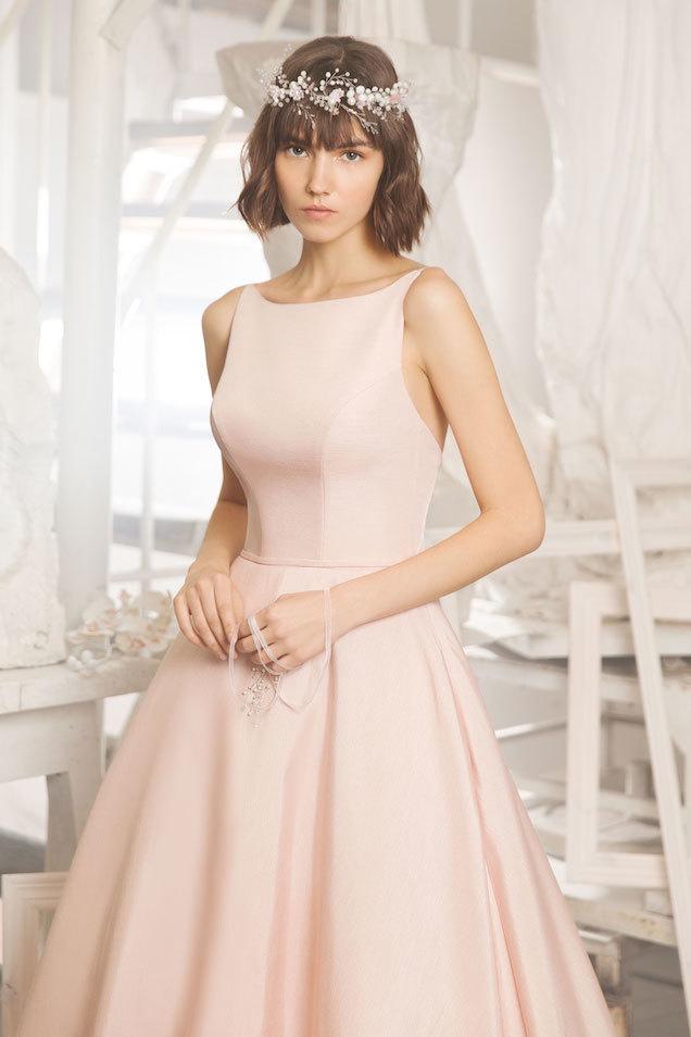 Розовое вечернее платье А-силуэт из жаккарда Miki