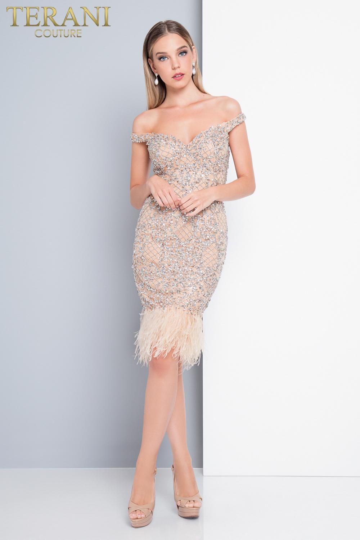 Коктейльное короткое вечернее платье terani couture 5005