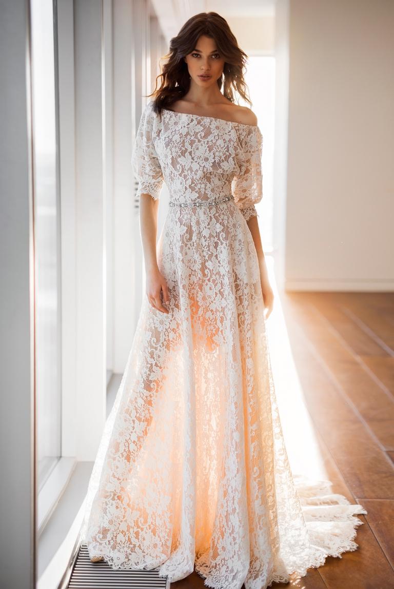 Кружевное свадебное платье с рукавами Дженни