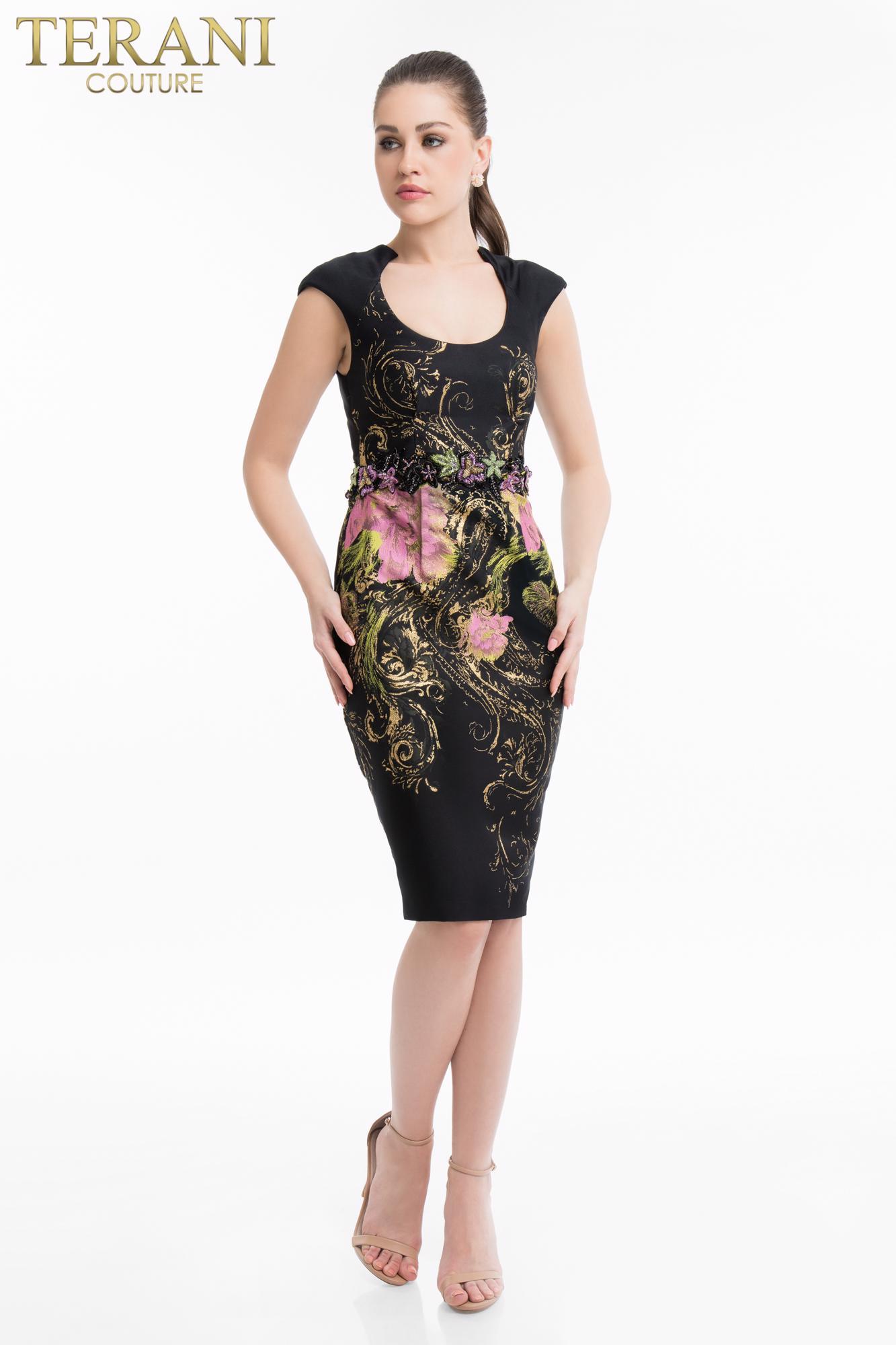 Коктейльное короткое вечернее платье terani couture 7025
