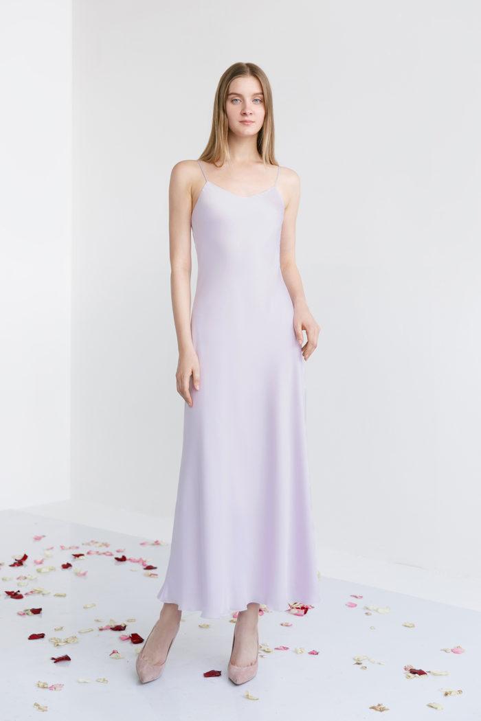 Шелковое вечернее платье лилового цвета Лили