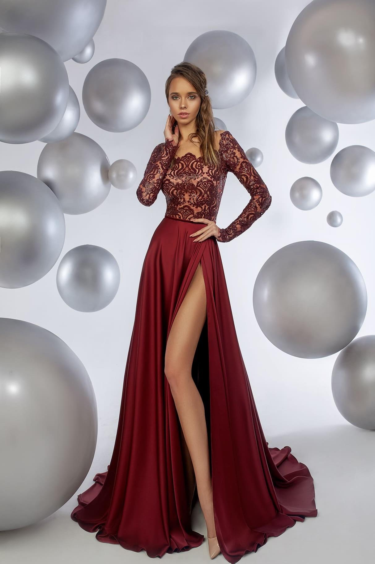 Платье на выпускной -  maroon