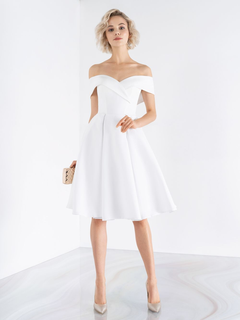 Короткое свадебное платье А-силуэт emse 0458