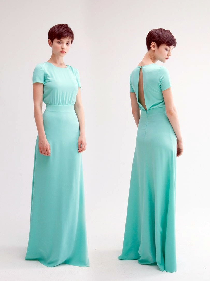 Длинное вечернее платье 3315 мята