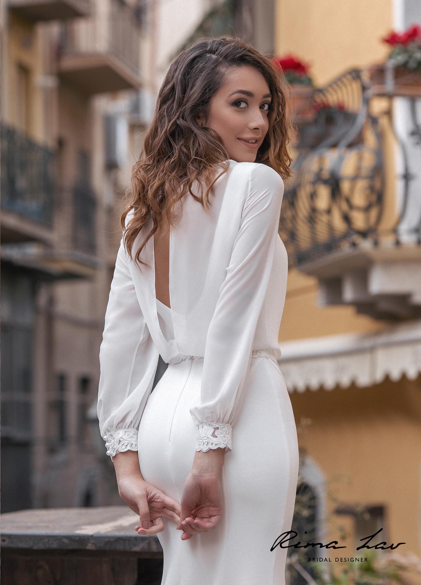Свадебное платье с длинными рукавами Тэрон Блуза
