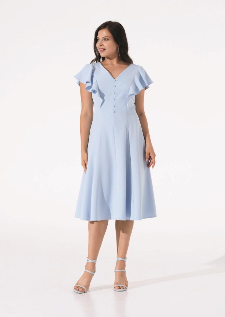 платье 0608/08 голубое plus size emse вечерние платья