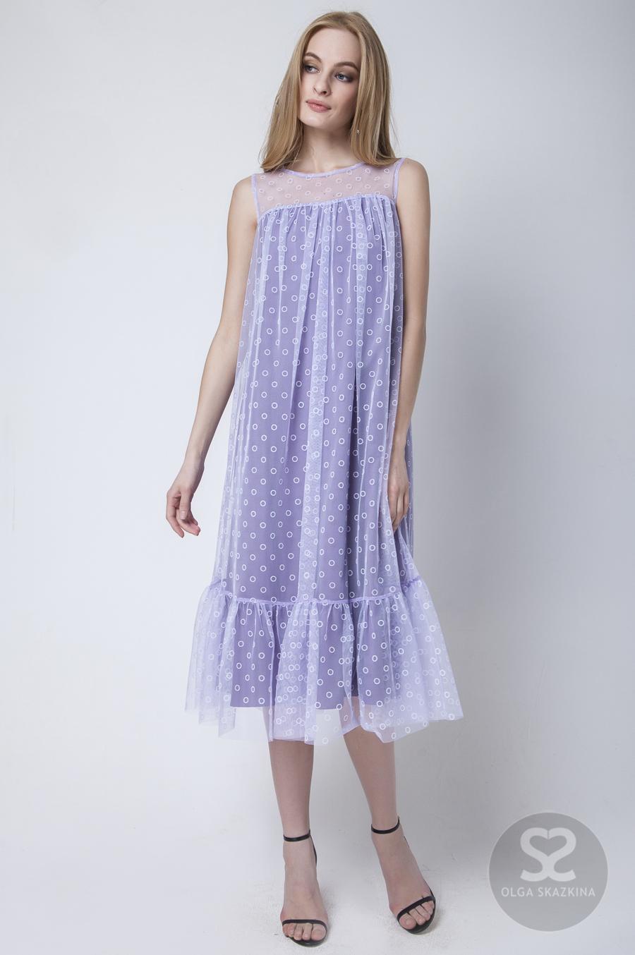 Фиолетовое вечернее платье длины миди 160104
