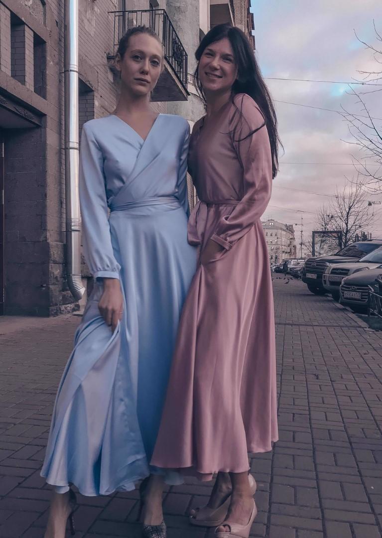 Платье на выпускной -  india midi (розовое, голубое)