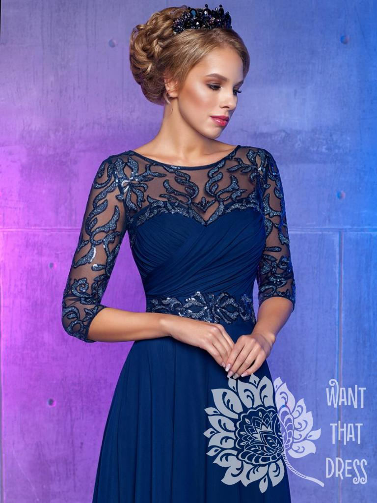 корсет синего вечернего платья с рукавами