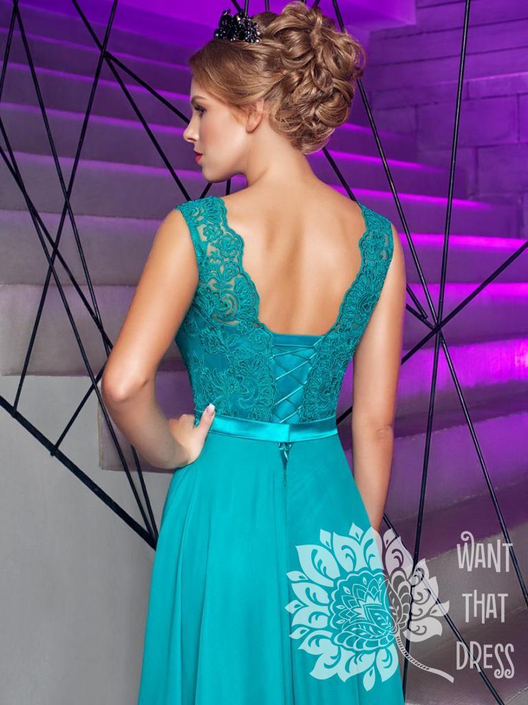 Платье на выпускной -  паулина (изумрудное)