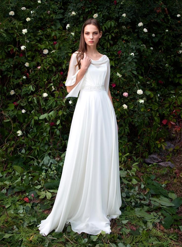 Прямое свадебное платье аманда (серый)