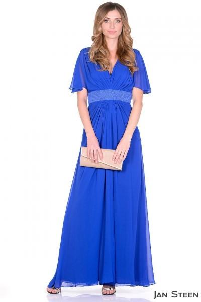 Синее длинное платье J1224