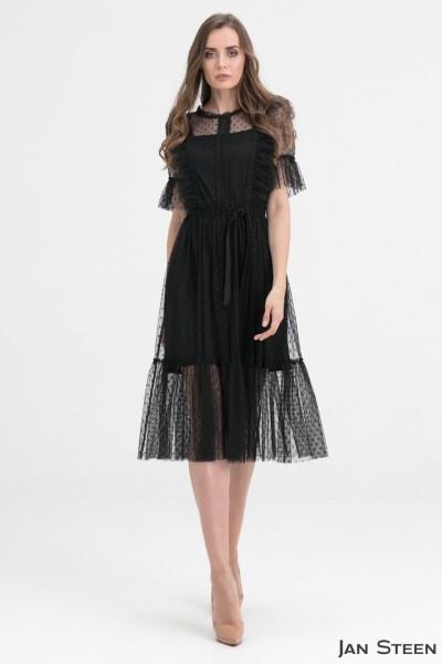 Вечернее платье в горошек G92- Black