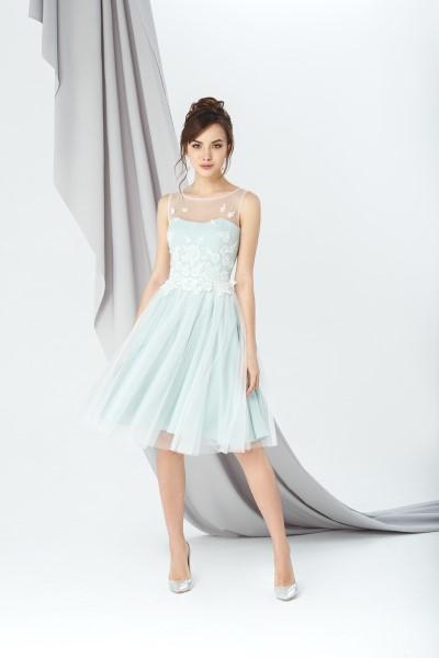 Коктейльное короткое вечернее платье 0246/02 (мята)