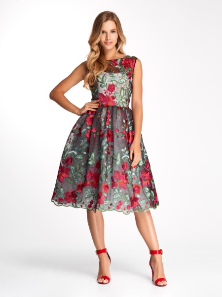 Коктейльное короткое вечернее платье 0270/2