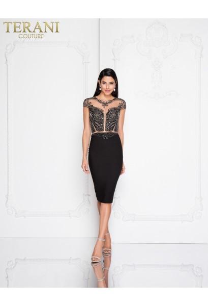 Коктейльное короткое вечернее платье terani couture 6013