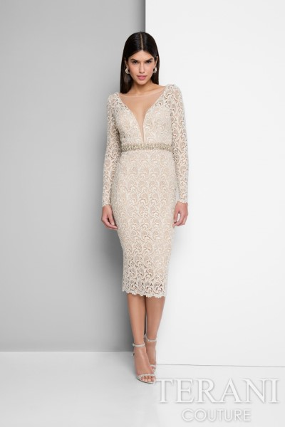 Коктейльное короткое вечернее платье terani couture 3054 (синий)