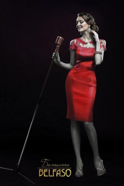 Коктейльное короткое вечернее платье батиста красное