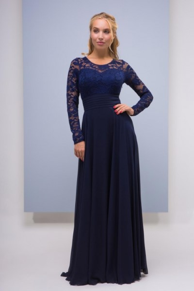 Синее вечернее платье с рукавами Ариста