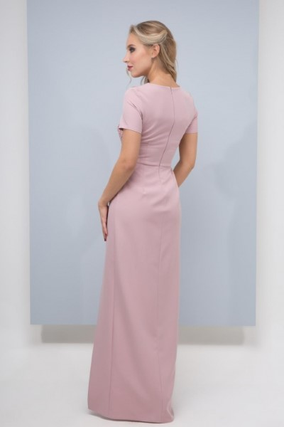 Коктельное платье Римана (цвет пудра) с коротким рукавом