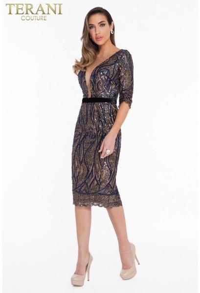 Коктейльное короткое вечернее платье terani couture 7012