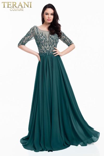 Длинное вечернее платье terani couture 7659