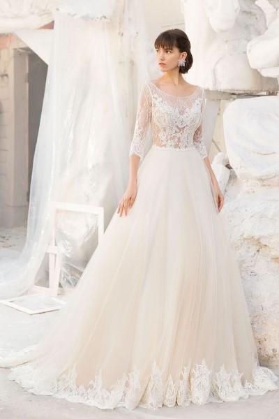 Свадебное платье с кружевным корсетом афина