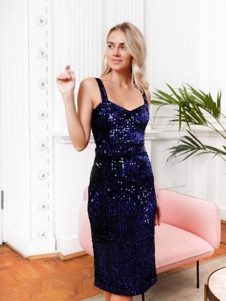 Платье футляр темно синее с лямками