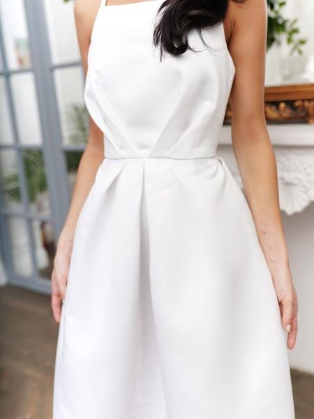 Пышное молочное платье 20NY100SML в длине миди