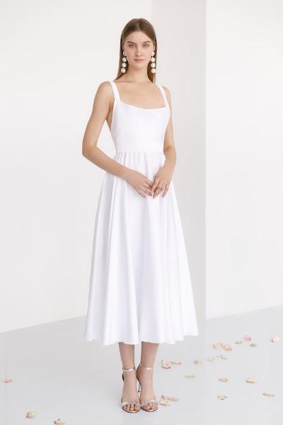 Элли - свадебное платье ниже колена с открытой спинкой