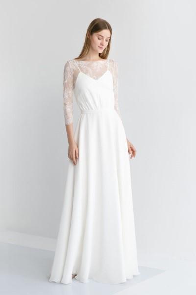Платье на свадьбу с кружевным корсетом Амалия