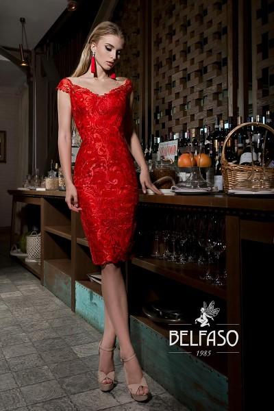 Коктейльное короткое вечернее платье жанин красное