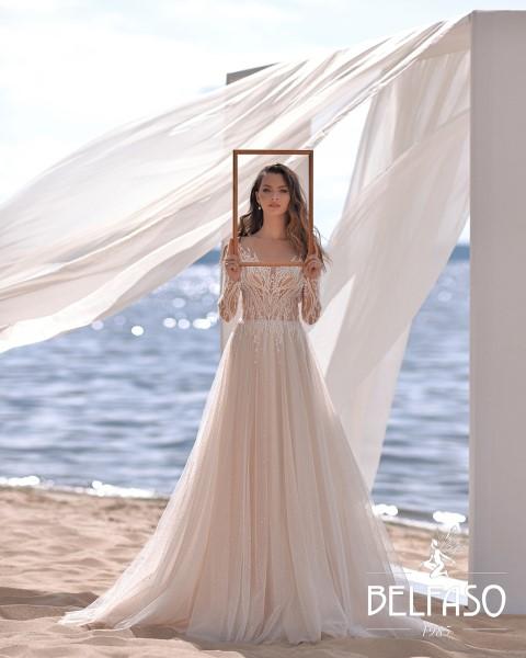 Свадебное платье Каро нежно-розового цвета с кружевным корсетом