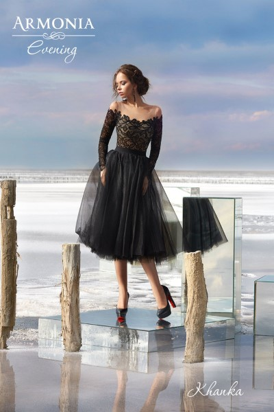 Коктейльное короткое вечернее платье khanka