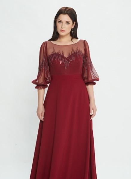 Вечернее платье  Plus size М0527 (в наличии пудрового цвета)