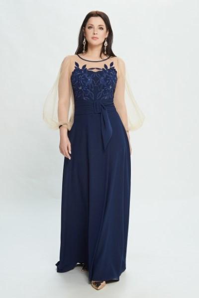 Синее вечернее платье в пол М0533
