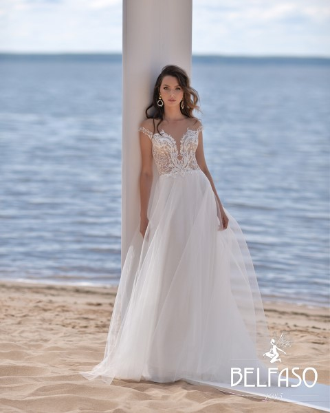 Кружевное Платье невесты без рукавов Селина