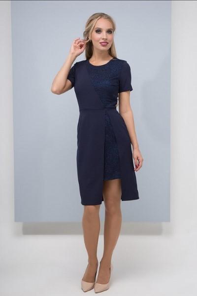 Коктейльное платье Римана (цвет пудра) с коротким рукавом