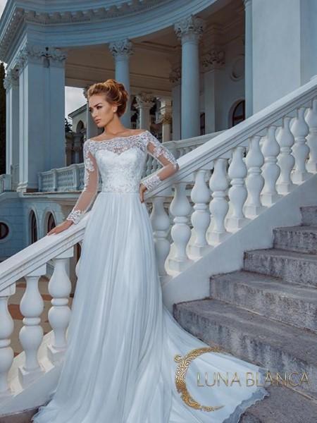 Свадебное платье с кружевным корсетом камилла
