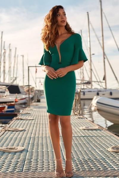 Короткое вечернее платье Хелена изумрудного цвета