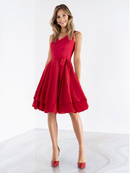 Легкое красное выпускное платье emse 0497