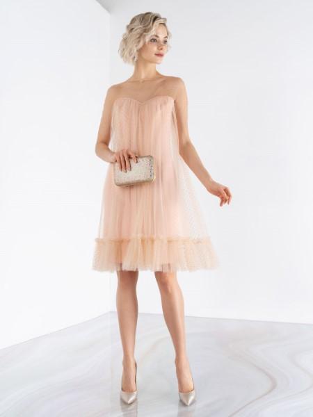 Выпускное платье трапеция emse 0461 с коротким рукавом