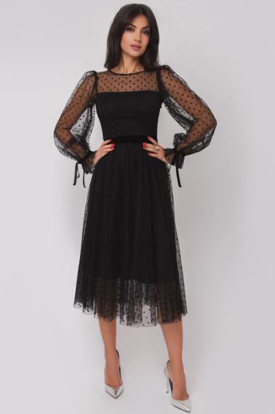 Стильное платье в горох длины миди OS180622