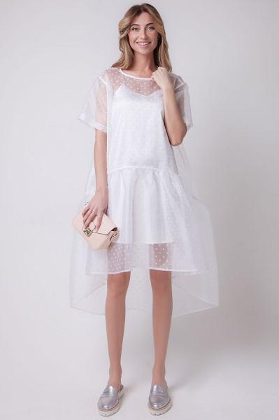 Ассиметричное белое платье-футляр в горох OS41101