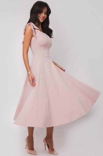Розовое вечернее платье миди на бретелях  OS180027