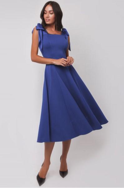 Синее платье на выпускной длинны миди OS180027