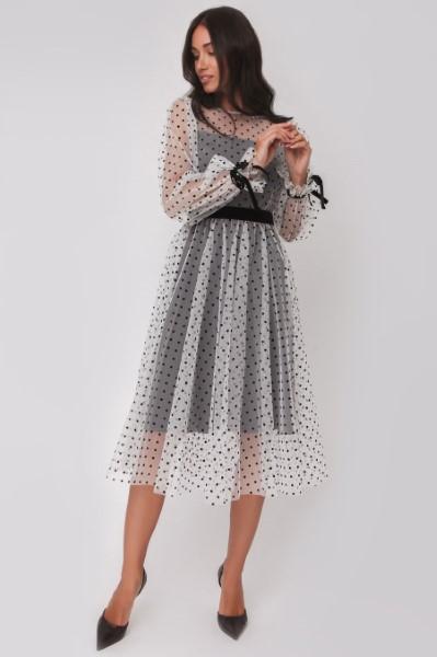 Стильное платье в горох с длинным рукавом OS180622