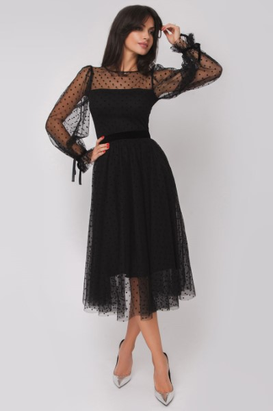 Стильное вечернее платье в горох длины миди OS180622