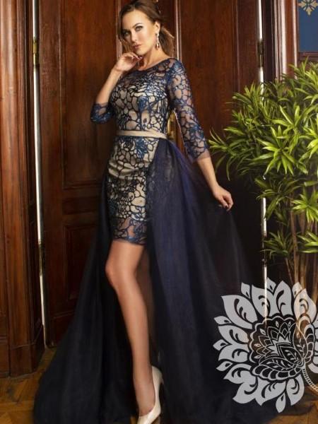 Платье на выпускной -  ирис с рукавом